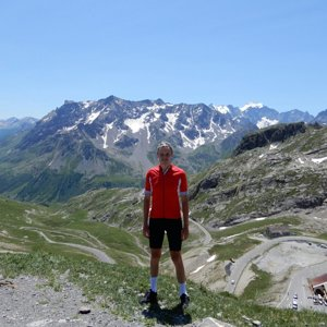 Me at Col du Galibier with valley to the southwest behind me