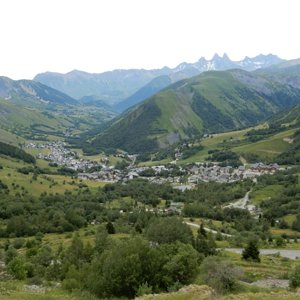 View down to ski resort town of Saint-Sorlin-d'Arves from near the Col de la Croix de Fer
