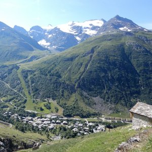 Bonneval-sur-Arc seen from early part of climb to Col de l'Iseran